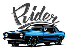 Vector blue muscle car. Icon on white background Stock Photography