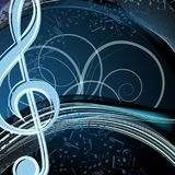 Blue music floral background: melody, notes, key, swirly. Vector blue music floral background: melody, notes, key, swirly Royalty Free Stock Photography