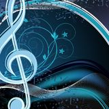 Blue music floral background: melody, notes, key, swirly. Vector blue music floral background: melody, notes, key, swirly Stock Photography