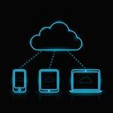 Vector blue neon computing icons Stock Photo