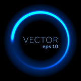 Vector blue neon glittering circle. Stock Photos