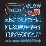 Vector blue neon lamp letters font show banner light sign theather Stock Photography