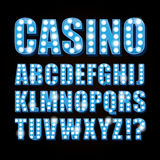 Vector blue neon lamp letters font show casino or theather Stock Photo