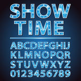 Vector blue neon lamp letters font show cinema or theather Stock Photos
