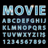Vector blue neon lamp letters font show cinema or theather Stock Photography