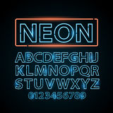 Vector blue neon lamp letters font show vegas light sign theather Stock Photos