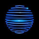 Vector blue neon sphere circles light train effect Royalty Free Stock Photos