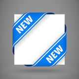 Vector blue new corner ribbons. Vector blue corner ribbons with white sing new stock illustration
