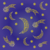 Vector blue night festive pattern background with irregular yellow sketchy comet, moon and star Royalty Free Stock Images
