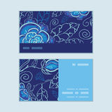 Vector blue night flowers horizontal stripe frame Royalty Free Stock Photo
