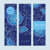 Vector blue night flowers vertical banners set Stock Photo