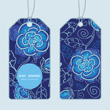 Vector blue night flowers vertical round frame Stock Photo
