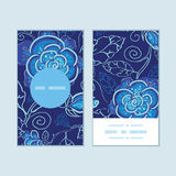 Vector blue night flowers vertical round frame Royalty Free Stock Photo
