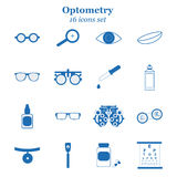 Vector blue optometry icon set. Optician, ophtalmology, vision correction, eye test, eye care, eye diagnostic. Vector blue optometry 16 icon set. Optician Royalty Free Illustration