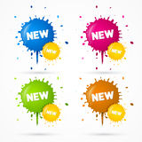 Vector Blue, Orange, Pink and Green Stickers. Blots, Stains With New Title Stock Photo