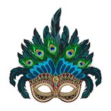 Vector blue ornate Venetian carnival mask with colorful feathers royalty free illustration