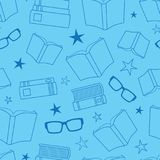 Vector Blue Oultined Books Seamless Pattern Stock Photography