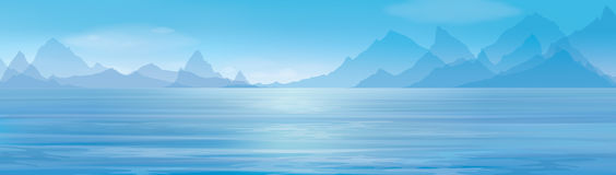 Vector blue panoramic sea background. Royalty Free Stock Photo