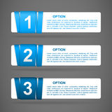 Vector blue paper option labels. With number of option on ribbon Royalty Free Stock Images