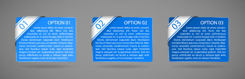 Vector blue paper option labels. With number of option on ribbon Stock Photo
