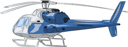 Vector. Blue passenger helicopter. Stock Photography