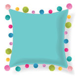 Vector Blue Pillow Decorated With Colorful Decorative Pompoms. Editable Template Design. Stock Photo