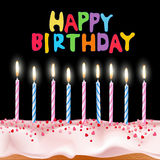 Vector blue and pink candles on a birthday cake Royalty Free Stock Photography