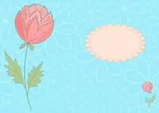 The vector blue and pink flower picrure Royalty Free Stock Images