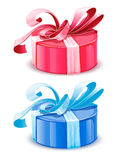 Vector blue and pink gift boxes isolated Stock Photo