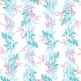 Vector blue pink tropical leaves summer vertical seamless pattern  Stock Images