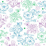Vector Blue Purple Green Kimono Flowers Drawing Stock Photo