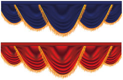 Vector blue and red  curtains Royalty Free Stock Photo