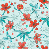 Vector Blue Red Japanese Flowers Seamless Pattern Stock Photography