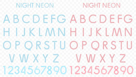 Vector Blue and red light neon alphabet in alpha background. Royalty Free Stock Images
