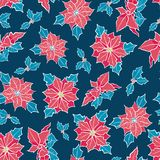 Vector blue, red poinsettia flower and holly berry holiday seamless pattern background. Great for winter themed Royalty Free Stock Photo