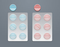 Vector blue and red round pills in blister packs Stock Images
