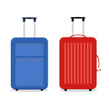 Vector blue and red travel bags.  on white. Stock Photo