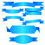 Vector blue ribbon banner flat collection Royalty Free Stock Image