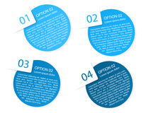 Vector blue rounded paper option labels. Set of vector blue rounded paper option labels with number of option royalty free illustration