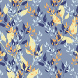 Vector blue royal spring seamless background. Vector blue royal spring seamless color background with leaves stock illustration
