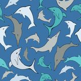 Vector Blue sea dolphins Seamless Pattern. royalty free illustration