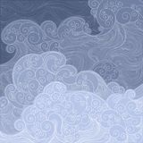 Vector blue waves fishnet, storm on the sea or ocean. Vector blue sea, ocean, raging waves. laced, delicate linear graphics Royalty Free Stock Photography