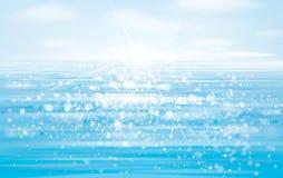 Vector blue sea  and  sun shine sky. Vector blue sea  and  sun shine sky blue   background Royalty Free Stock Photos