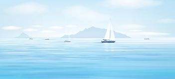 Vector blue sea and yachts. Vector blue sea, sky  background and yachts Royalty Free Stock Photography