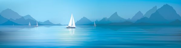Vector blue sea  and yachts. Vector blue sea, sky  background and yachts Royalty Free Stock Images