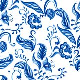 Vector Blue Seamless floral ornament pattern. Vector Blue Seamless floral ornament Sample. Pattern with Plants Royalty Free Stock Photo