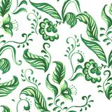 Vector Blue Seamless floral ornament pattern. Vector Blue Seamless floral ornament Sample. Pattern with Plants Royalty Free Stock Image