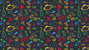 Vector blue seamless pattern. Car dashboard icons texture. Repeating dtc code signs. Coloured, irregular, check engine big sign. Stock Photography