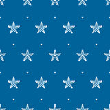 Vector blue seamless pattern with sea starfish Royalty Free Stock Photo