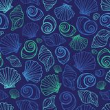 Vector blue seashells repeat pattern. Suitable for gift wrap, textile and wallpaper royalty free illustration